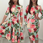 US Women Retro Tunic Long Sleeved Floral Print Bodycon Dresses / Vintage Dress