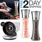 Large Salt And Pepper Grinders Set Spice Mill Shakers Modern Clear Glass Long