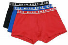 Authentic Hugo Boss Men's Cotton Stretch Comfort Boxers (3-Pack) RED/BLUE/BLACK