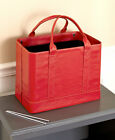 Portable Double Handle Faux Leather Document File Folder Organizer Tote Carrier