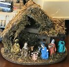 Vintage Nativity Scene Made in Italy Rustic Natural Styling Christmas Scene