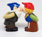 Kissing Gnome Couple 4 Inch Ceramic Magnetic Salt and Pepper Shaker Set Fun Gift