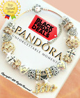 AUTHENTIC PANDORA Bracelet Silver Gold VALENTINE Charms with European Charms