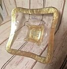 BADASH Glass Gold Trim square candy / nut serving dish.