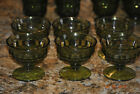Set of 6 1960s Whitehall Avocado Green Footed Sherbet Glasses Cubist Colony