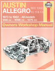 Haynes Workshop Manual Austin Allegro 1100 1300 1973-1982  Repair Service
