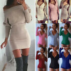 's Party Knitted Sweater Mini Dress Slim Bodycon Bodysuit Leotard Tops