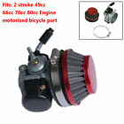 Carburetor Carb Red Air Filter Kit For 49cc 80cc Motorized Bicycle Engine Motor