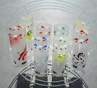 VINTAGE 8 PIECE LIBBY CIRCUS ANIMAL CAROUSEL FROSTED GLASSES AND HOLDER
