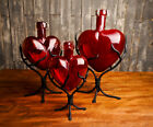 Hand Blown Glass Hearts  Red Glass