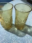 Vintage - SET of 2 - Garden Daisy - Yellow Brown Amber Glasses Tumblers