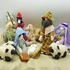 Handmade Stuffed Fabric Nativity Set 12 Piece Donna Gallagher Home Folk