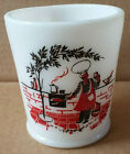 Vintage Hazel Atlas Milk Glass Barbecue Chef Mug Very Hard To Find Red Brick