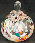 Rollin Karg Multi Color Confetti Glass Perfume Bottle Paperweight Signed