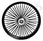 21 x 35 BLACK FRONT WHEEL MAMMOTH 48 FAT SPOKES DUAL DISC HARLEY SOFTAIL DYNA