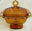 INDIANA GLASS! Vintage AMBER Tall Candy, Trinket Dish, Pedestal, Lace EXCELLENT!