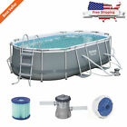 14 x 8 Feet Oval Frame Above Ground Swimming Pool Set Backyard Kids Family Fun