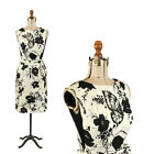 Vintage 50s Madeleine Black + White Floral Butterfly Silk Blend Cocktail Dress M