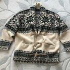 Polo Wool Sweater Cardigan Hand Knit Xmas Snowflake Nordic Native Ralph Lauren