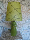 Vintage Mid Century Modern Art Deco Ceramic Table Lamp Fiberglass Shade FREES
