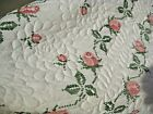HARDLY EVER USED VINTAGE CROSS STITCH EMB ROSES QUILT80X94FRESHLY LAUNDERED