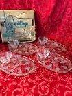 Vintage Anchor Hocking Clear Glass Grape Pattern Snack Set with Plates and Cups