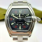 Genuine Cartier Roadster Stainless Steel Black Casino Dial Mens Automatic Watch