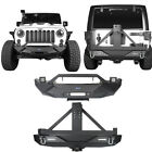 Front + Rear Bumper w Tire Carrier  D Rings for 2007 2018 Jeep Wrangler JK