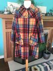 Womens Vintage plaid Swing Coat official Munich Olympics ice skaters coat
