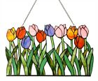Tiffany Style Stained Cut Glass Window Panel Multi Color Tulip Floral Design