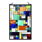 Stained Glass Tiffany Style Window Panel Modern Arts  Crafts Design 20 x 32
