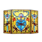 Fireplace Screen Tiffany Style Stained Glass 3 Section Dragonfly 44 x 28 Folding