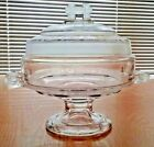 Two Band Compote EAPG Large Covered Glass Footed Serving Dish 8.5