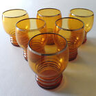 Mid Century Modern Amber Round Top Cocktail 6 oz. Glass Tumblers, Set of 6