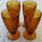 4 Indiana Sandwich Glass Tiara Amber Footed Ice Tea Vintage DAISY Tumblers