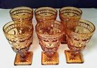Set of 6 Indiana Glass Park Lane Amber Juice Wine Footed Stem Goblets 4.5