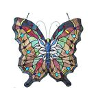 Stained Glass Window Panel 22 Tall x 22 Wide Vintage Butterfly Design