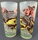 Vintage Mid Century Cowboy Western Rodeo Collins Frosted Beverage Glasses Set 2