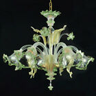 Murano chandelier CaVenier ceilling 5 arms green crystal gold