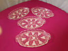 Vintage Anchor Hocking 4 Snack Plate Lot~Grapevine Pattern Cut Glass Grape Punch