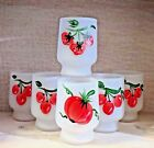 Vintage Federal Frosted Juice Glasses Hand Painted Fruits Cherry Strawberry (6)