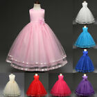 Elegant Girls Bow Tie Maxi Dress Solid Color Long Skirt Formal Wedding Party NEW
