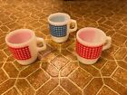 Vintage Set Of 4 Anchor Hocking Oven Proof Plaid Coffee Cup Mug USA