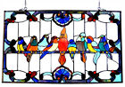 Stained Glass Window Panel 32 Long x 20 High VERY COLORFUL Singing Birds