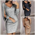 Women Long Sleeve V-neck Sequined Bodycon Party Club Cocktail Evening Mini Dress
