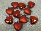 VALENTINES DAY Shiny RED HEART Ornaments  Set of 10 Tree Decorations NEW