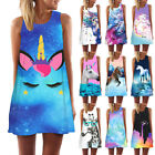 Unicorn 3d Print Summer Women Tank Top Mini Dress  Sleeveless Casual Tunic Dress