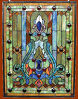 Stained Glass  Cabochons Victorian Design Window Panel 18 x 25 Handcrafted