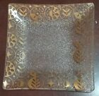 GEORGES BRIARD Mid Century Signed Gold Leaf Square Glass Dish Tray ~ 6