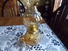 Vintage L. E. Smith Moon and Stars Gold Amber Fingered Oil Lamp